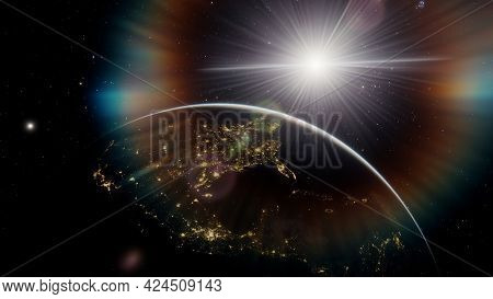 Planet Earth From The Space At Night, Planet Earth From Outer Space View, Glow Planet Earth View Fro