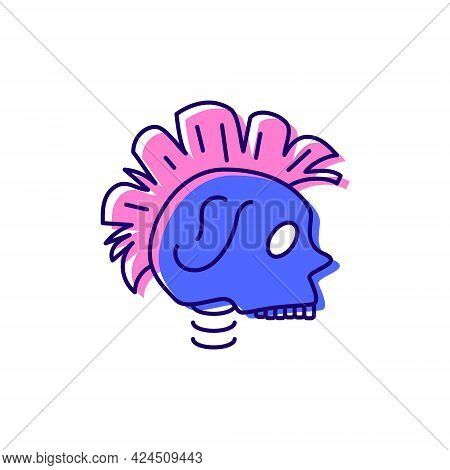 Cyberpunk Head With Mohawk Color Icon. Futuristic Skull. Future With Robot Technology. Science Ficti
