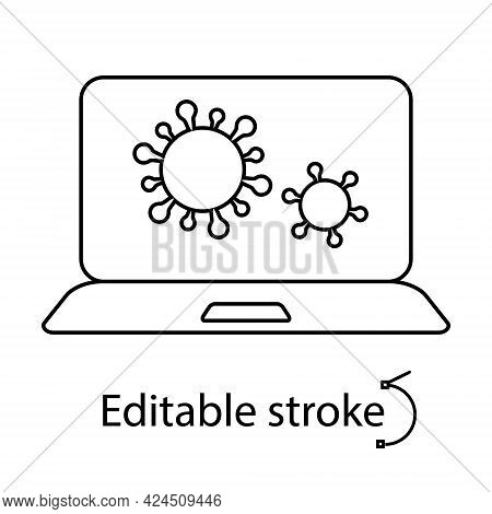 Virus In Laptop Outline Icon. Computer Problem. Antivirus Protection. Customizable Linear Contour Sy