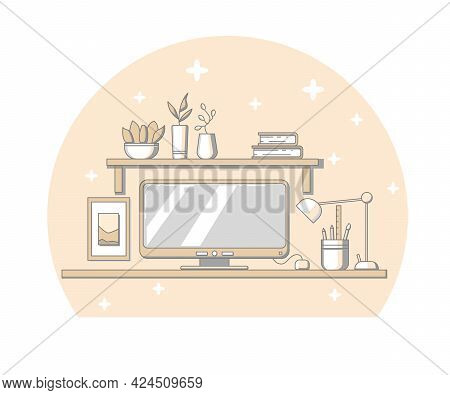 Vector Illustration Of Home Workspace. Trendy Yellow And Gray Colors. Concept Of Workstation For Gra