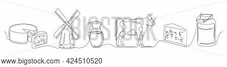 Set Of Continuous One Line Drawing Of A Cheese Theme. One Line Of Cheese, Cow, Mill, Can, Pitcher Is