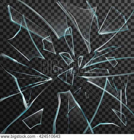 Realistic Shards Of Transparent Broken Glass On Abstract Grey And Black Background Vector Illustrati