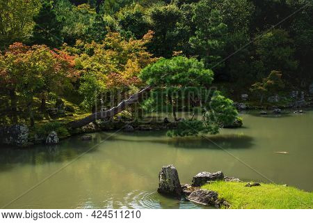 Colorful Autumn Trees Along Idyllic Pond At Traditional Japanese Zen Garden Sogenchi At Tenryu-ji Te