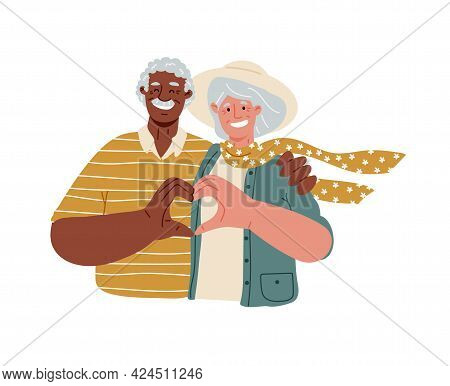 Eldery People Making Heart With Their Fingers And Smiling, Love.multiracial Couple Of Old People.vec