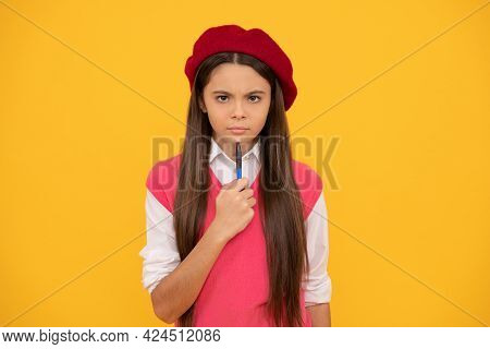 Serious Kid In Beret Ready To Study. Child Making Notes. Teenage Student. Tween And Youth.