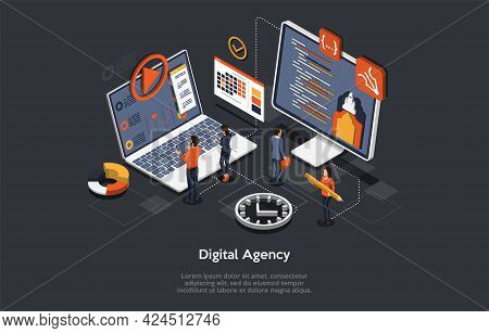 Digital Agency, Modern Successful Professions Conceptual Design. Computers Cyberspace Program Relate