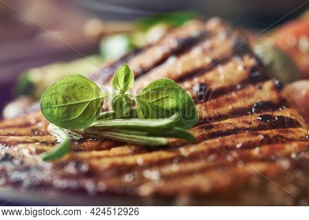 Grilled Turkey Breast With Fresh Herbs. Close Up.