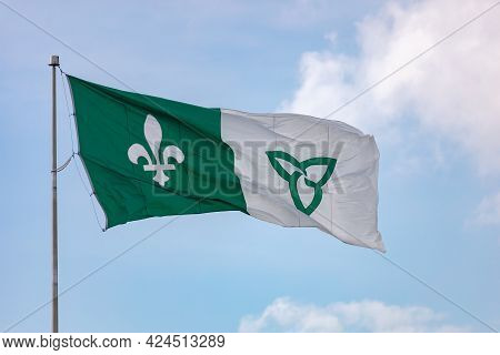 Hawkesbury, Ontario, Canada - June 21, 2021: The Franco-ontarian Flag, Representing French Canadian