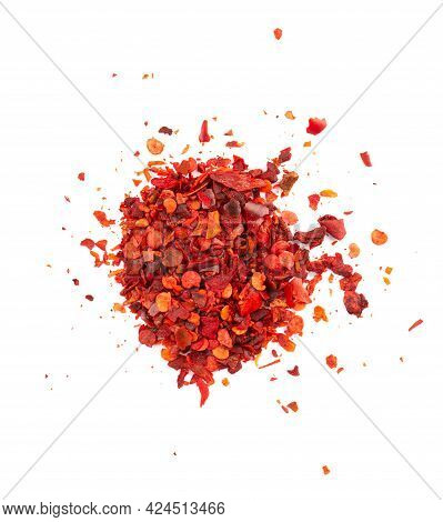 Dried Red Chili Flakes With Seeds, Isolated On White Background. Chopped Chilli Cayenne Pepper. And