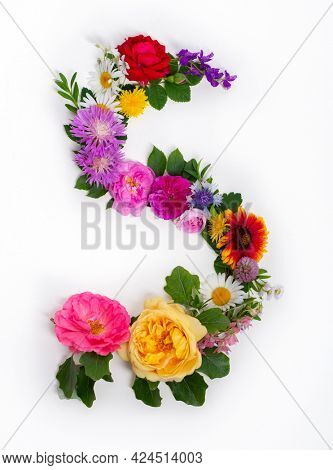 Floral summer font. Concept alphabet design, letter S. Seasonal decorative beautiful type mades of different multi-colored blooming flowers and grass. Natural summertime print