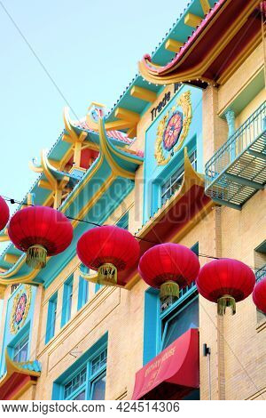 June 8, 2021 In San Francisco, Ca:  Building With A Chinese Design Including Hanging Lamps Besides T