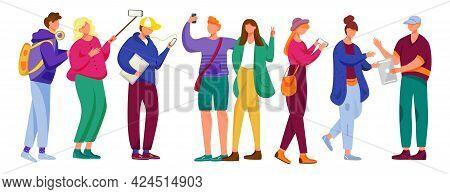 Teenager Culture Flat Vector Illustration. Millennials. Students. Cheerful Friends. Stylish Girls An