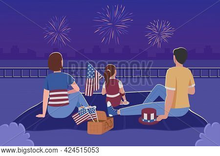 Family Watching Fireworks For 4th Of July Flat Color Vector Illustration. Independence Day Celebrati
