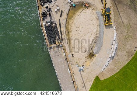 Under Construction The Pier Boardwalk Is Repair Work Several Pvc Sewer Pipes On Aerial View