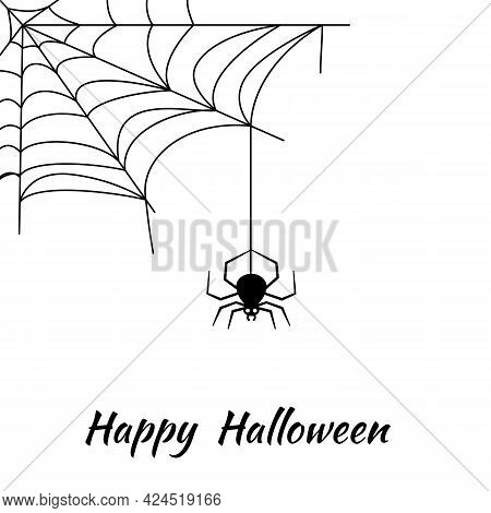 Happy Halloween Greeting Card With Words. Orange White Background With Cobwebs And A Hanging Spider.