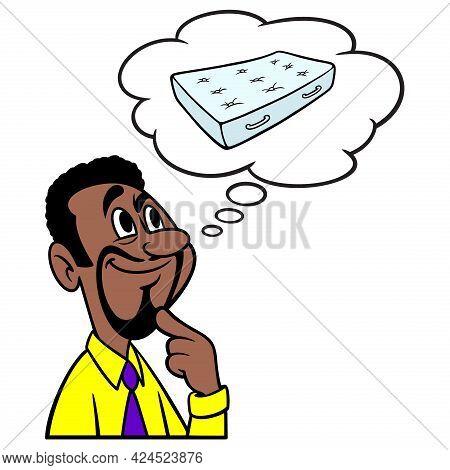 Man Thinking About A Mattress - A Cartoon Illustration Of A Man Thinking About A New Bed Mattress.