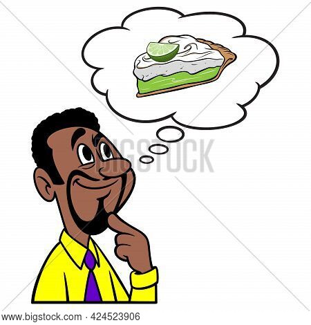 Man Thinking About Key Lime Pie - A Cartoon Illustration Of A Man Thinking About Eating Key Lime Pie