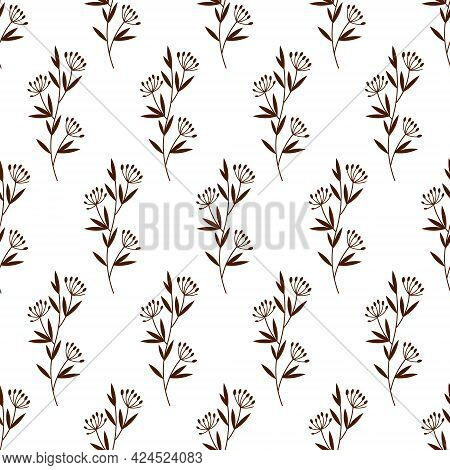 Meadow Grass Pattern. Vector Illustration Isolated On White Background. For The Use Of Fabrics, Pack