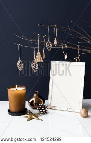 Festive photo frame on a table