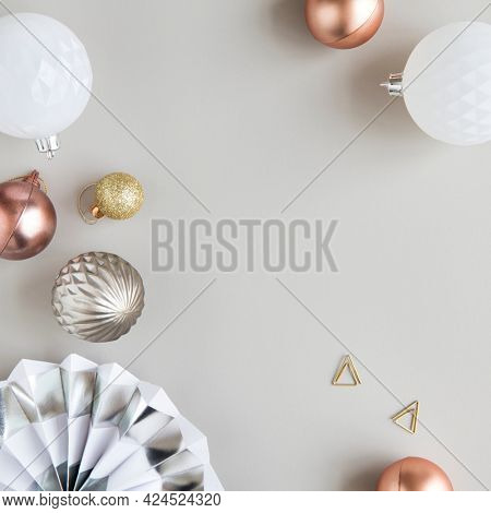 Christmas ornaments on a gray background