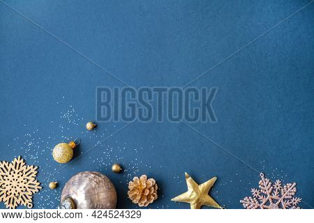 Christmas ornaments on a blue background