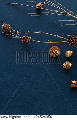 Golden pinecones on a branch