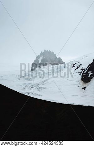 View of snowy mountain peak in  South Coast in Iceland