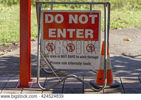 Do Not Enter Signage Where A Pathway Is Considered Unsafe And Advising Walkers To Use Alternate Rout