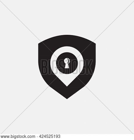 Vector Illustrations. Combination Logo From Shield, Lock And Pin Logo With Simple Concept. Minimalis
