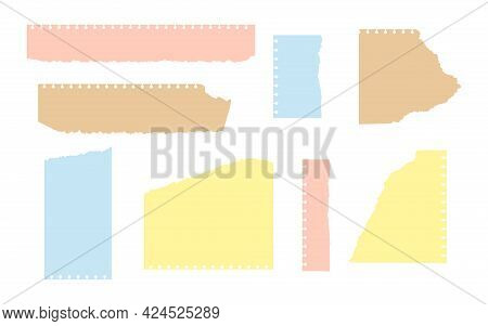 Set Of Ripped Colored And Craft Paper. Torn Sheet Different Shapes. Empty Templates With Frayed Edge