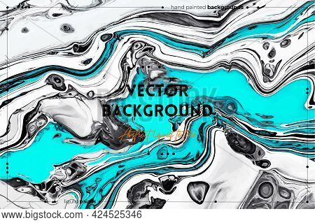 Fluid Art Texture. Abstract Backdrop With Mixing Paint Effect. Liquid Acrylic Picture With Colorful