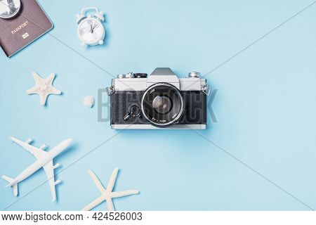 Flat Lay Top View Mockup Retro Camera Films, Airplane, Passport, Starfish, Shells Traveler Tropical