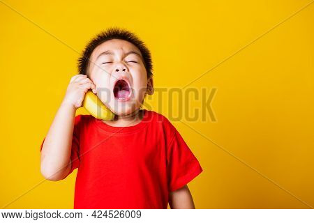 Happy Portrait Asian Child Or Kid Cute Little Boy Attractive Smile Wearing Red T-shirt Playing Holds