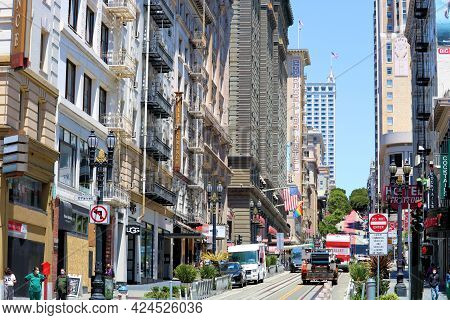 June 8, 2021 In San Francisco, Ca:  Vintage High Rise Buildings On Powell Street With Designer Retai
