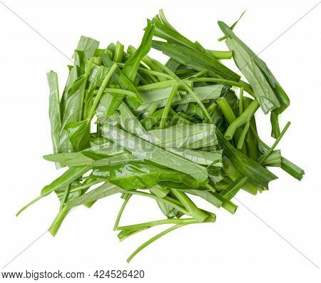 Isolated Morning Glory On White Background. Top View Slice Water Spinach. Clipping Path.