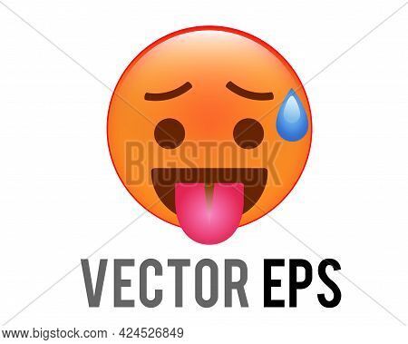 The Isolated Vector Gradient Reddish Orange Face Icon With Furrowed Eyebrows, Tongue Stuck Out And B