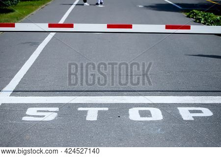 A Barrier And The Stop Sign On The Road. White-red Barrier On The Road. Green Along The Edges Of The