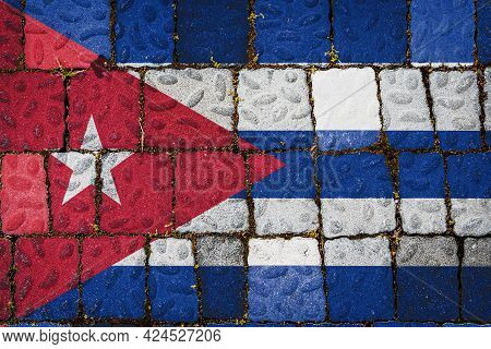 National Flag Of Cuba On Stone  Wall Background. Flag  Banner On  Stone Texture Background.