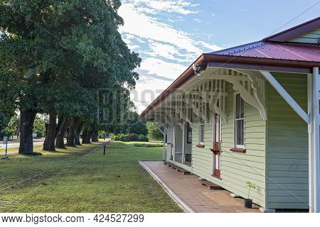 Mackay, Queensland, Australia - June 2021: An Old Out Of Use Timber Railway Train Station Turned Int