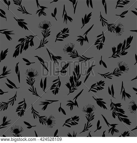 Vector Set Of Seamless Patterns Of Tropical Leaves, Plants, Flowers On Grey And Yellow. Beautiful Pr