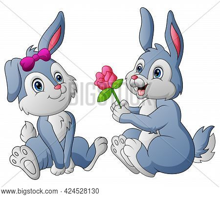 Cute A Couple Rabbit Gives His Beloved Flower