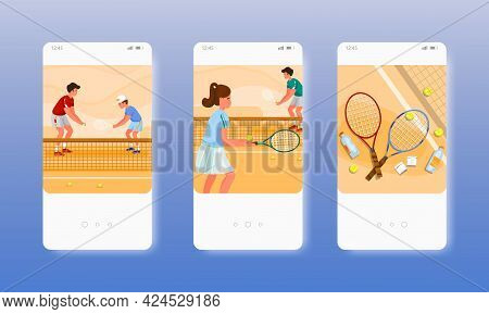 Coach Teaching Kids To Play Tennis On The Court. Mobile App Screens, Vector Website Banner Template.