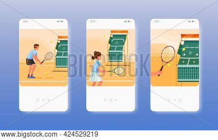 Tennis Training. Players With Rackets On Court. Mobile App Screens, Vector Website Banner Template.