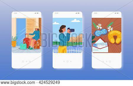 Romantic Honeymoon Trip For Just Married. Mobile App Screens, Vector Website Banner Template. Ui, We