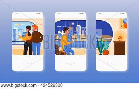 Future Of Architecture. Futuristic Smart City. Mobile App Screens, Vector Website Banner Template. U