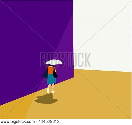 Woman Walk With Umbrellas Protect Sun And Shade On A Hot Summer's Day, Urban Life Concept, Town Stre