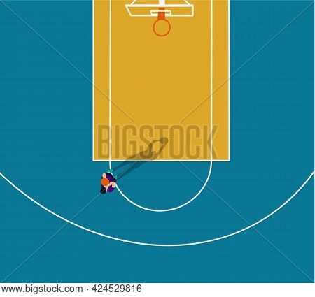 Basketball Player With Ball In Colorful Court. Top View Arena. Flat Design. Vector Illustration.