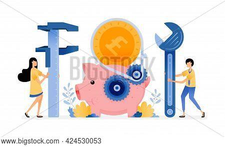 Vector Design Of The Piggy Bank Under Repair. Banking System Improvement. Building Technical Educati