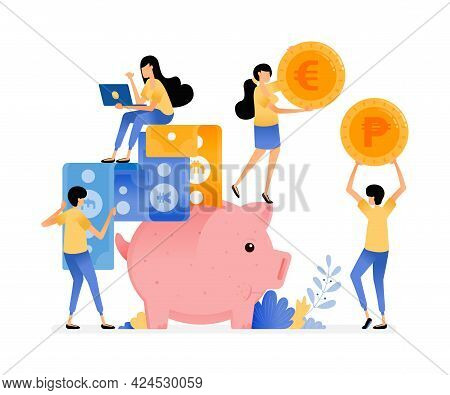 Vector Design Of People Save In Piggy Banks. Collect Coins And Paper Money. Banking Awareness And Fi