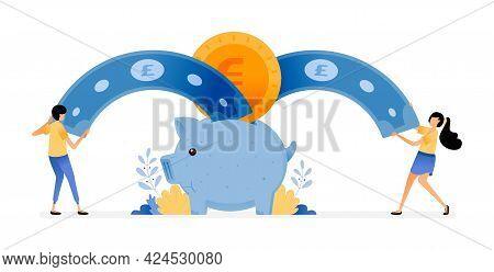 Vector Design Of People Racing To Saving. Piggy Bank Suck Customer Money. Awareness Of Investment, B